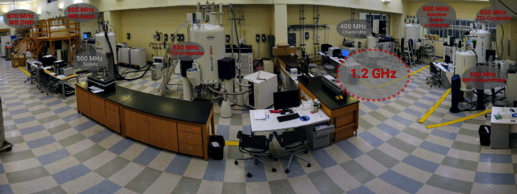 View of CCIC NMR suite in basement of CBEC, annotated with the location of existing NMR spectrometers and the dedicated space for the Instrument